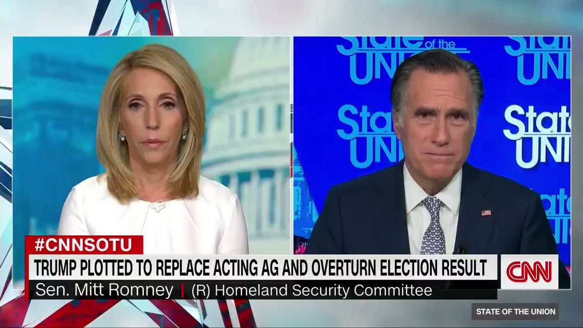 """""""I don't think we jettison people, particularly those who have been president of the [US]. At the same time, I think the party is going to move forward,"""" says Sen. Mitt Romney when asked if there's an appetite in the Republican Party to leave Trump and Trumpism behind. #CNNSOTU"""