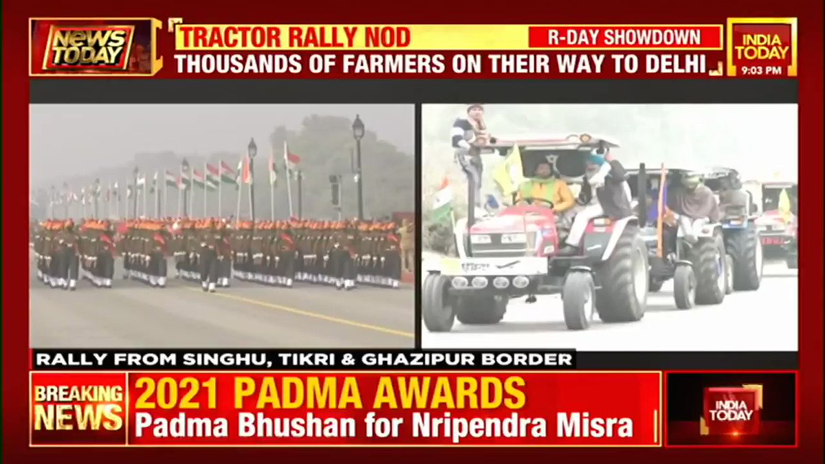Preparations in full swing for tractor rally on #RepublicDay. Watch @JournoAshutosh's report on #NewsToday with @sardesairajdeep  #FarmersProtest #TractorRally #RepublicDay #ITVideo