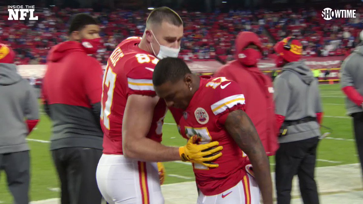 """A lot of plays left to be made."" ""You're gonna make a play in this game.""  Travis Kelce and Patrick Mahomes kept Mecole Hardman's head up after his muffed punt.  He scored a TD the very next drive 👏 (via @insidetheNFL)"