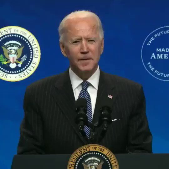 """Pres. Biden: """"The federal government also owns an enormous fleet of vehicles, which we're going to replace with clean electric vehicles made right here in America, by American workers."""""""