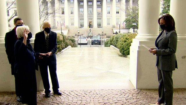 .@VP Kamala Harris ceremonially swears in Dr. Janet Yellen as Secretary of the Treasury at the White House.