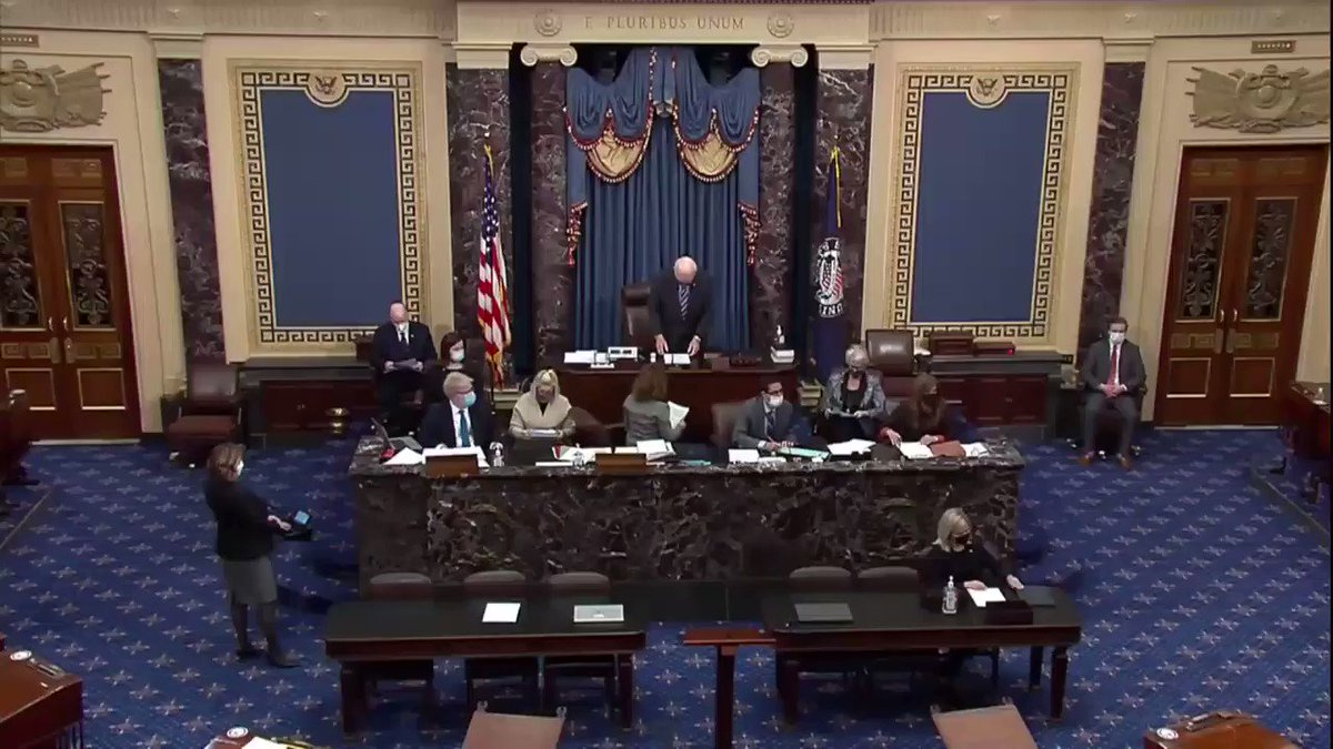 Senators were sworn in today for the second impeachment trial of Donald Trump for incitement of insurrection. I took an oath to support and defend the Constitution of the United States against all enemies, foreign and domestic. That is what I will do.