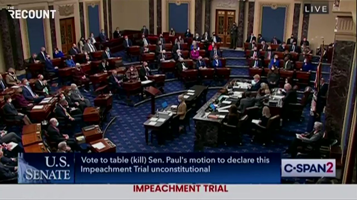 Senate rejects Sen. Rand Paul's (R-KY) attempt to declare Trump's impeachment trial unconstitutional, 55-45.  (Sen. Mitch McConnell sided with Paul's motion.) https://t.co/yPU2ZcHZFV