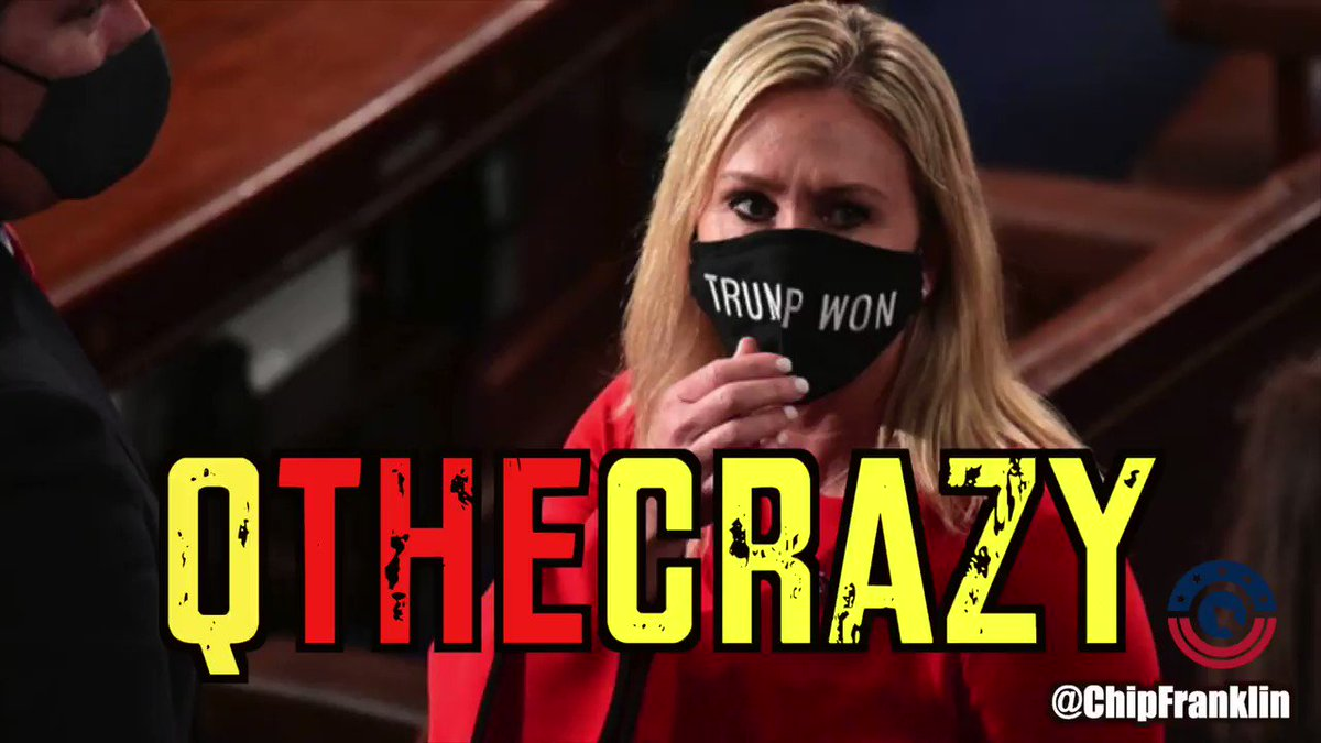 Marjorie Taylor Greene is a QAnon thug who helped incite an insurrection. She's also certifiably insane. Retweet if you agree, Marjorie doesn't belong in Congress. Video by Really American host @chipfranklin