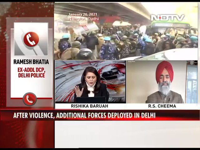 """#DelhiPolice had enough time to prepare themselves. But as a professional I can make out that they had some instructions to allow farmers to enter Delhi,"" says Ramesh Bhatia, former Additional DCP, Delhi Police to NDTV"