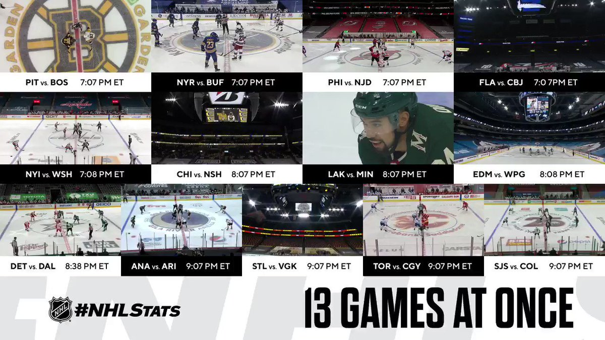 Everything is happening!  For the seventh time in NHL history, we had 13 games on simultaneously. #NHLStats