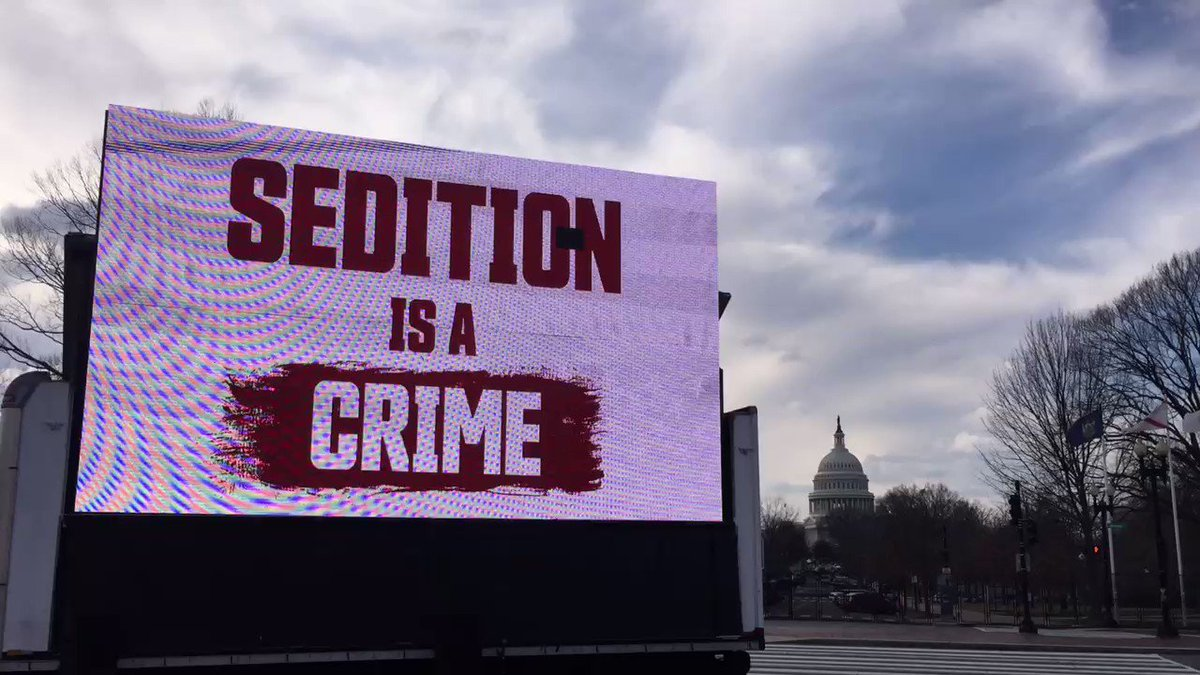 Good morning. We have a Jumbotron outside of the United States Senate. Retweet if you demand that Josh Hawley and Ted Cruz must be expelled from the senate.