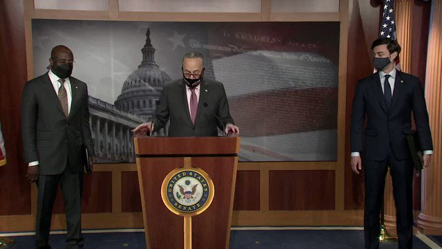Sen. Chuck Schumer: Because we have Warnock and because we have Ossoff in the Senate, we are on the edge of delivering real relief.