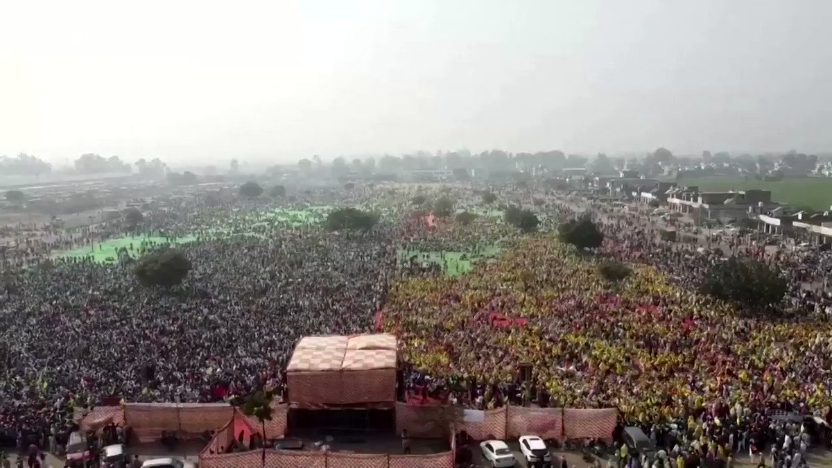 More than 100,000 farmers and farm workers gathered in India's northern Punjab state in a show of strength against new agricultural laws that seek to deregulate the country's vast farm sector