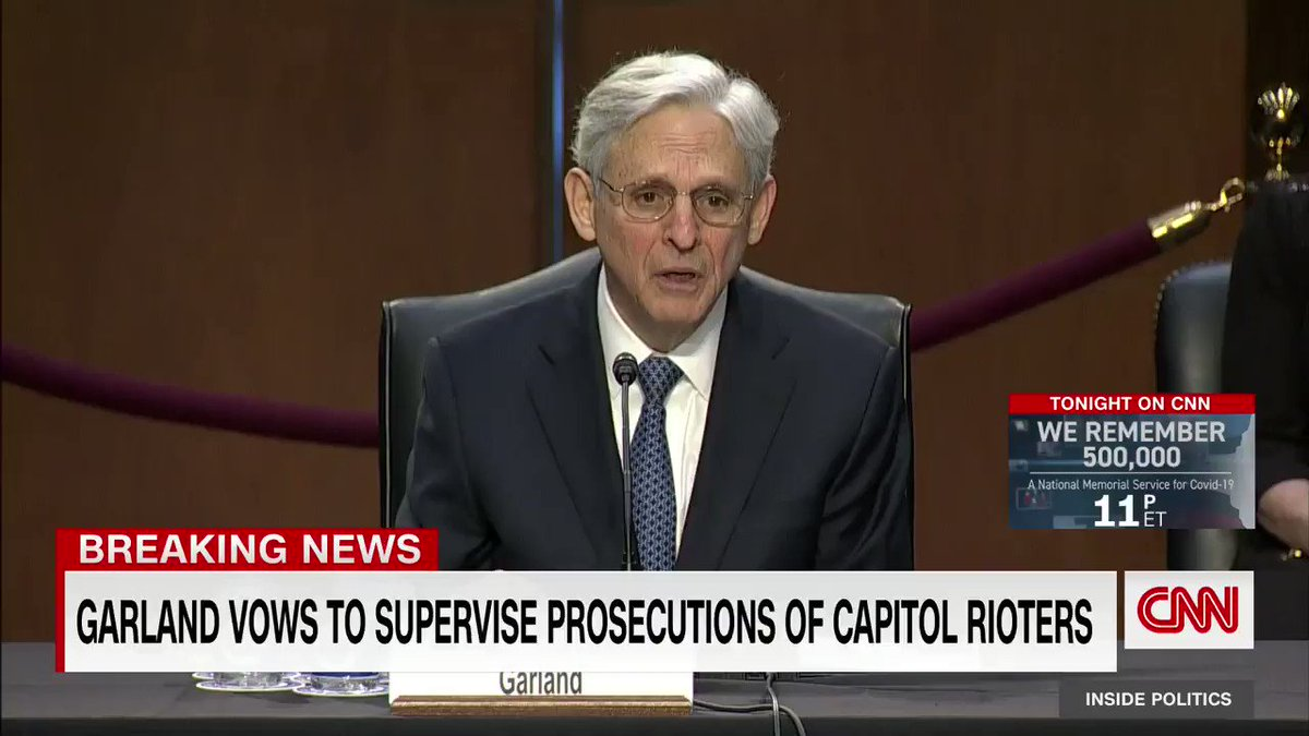 "Judge Merrick Garland not mincing words in describing the racist insurrectionists:  ""If confirmed, I will supervise the prosecution of white supremacists and others who stormed the capitol on January 6th -- a heinous attack that sought to disrupt a cornerstone of our democracy"""