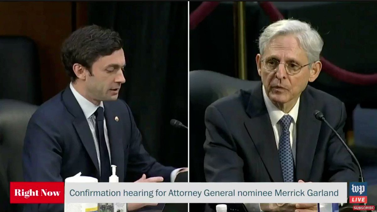 We thank Senator @ossoff for acknowledging tomorrow's anniversary of the murder of Ahmaud Arbery in Georgia – and we appreciate Judge Garland's response to his question about Congress equipping the DOJ's Civil Rights Division to launch pattern or practice investigations. Watch: