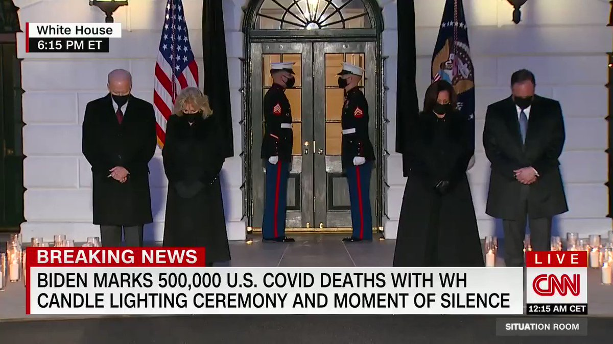 President Joe Biden and Vice President Kamala Harris hold a candle light ceremony at the White House to honor the 500,000 Americans lost to Covid-19