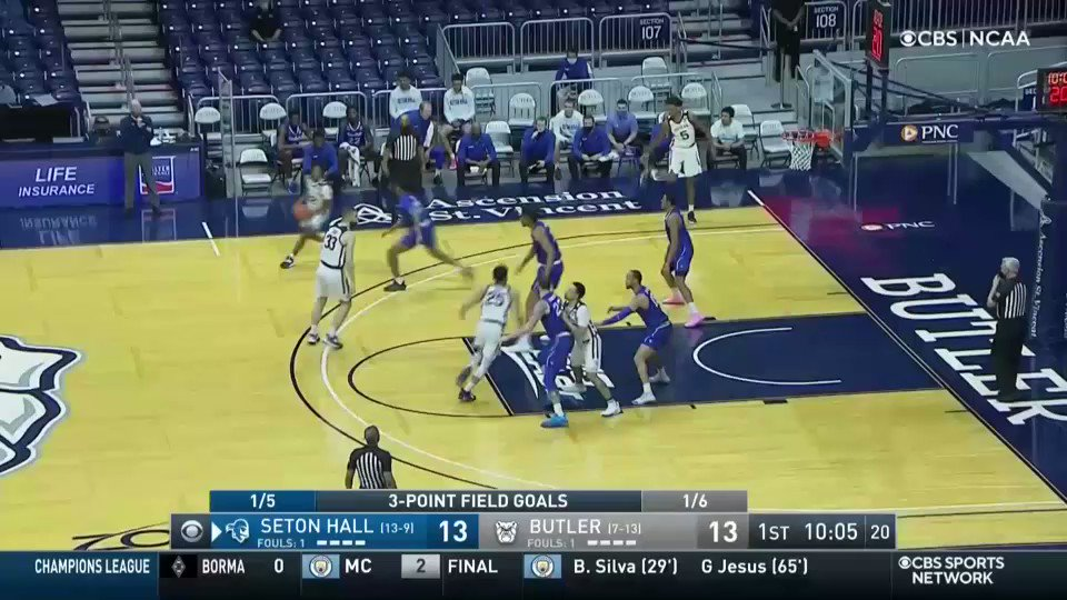 A little alley oop and 1 for Bryce Golden! @ButlerMBB| @BIGEASTMBB