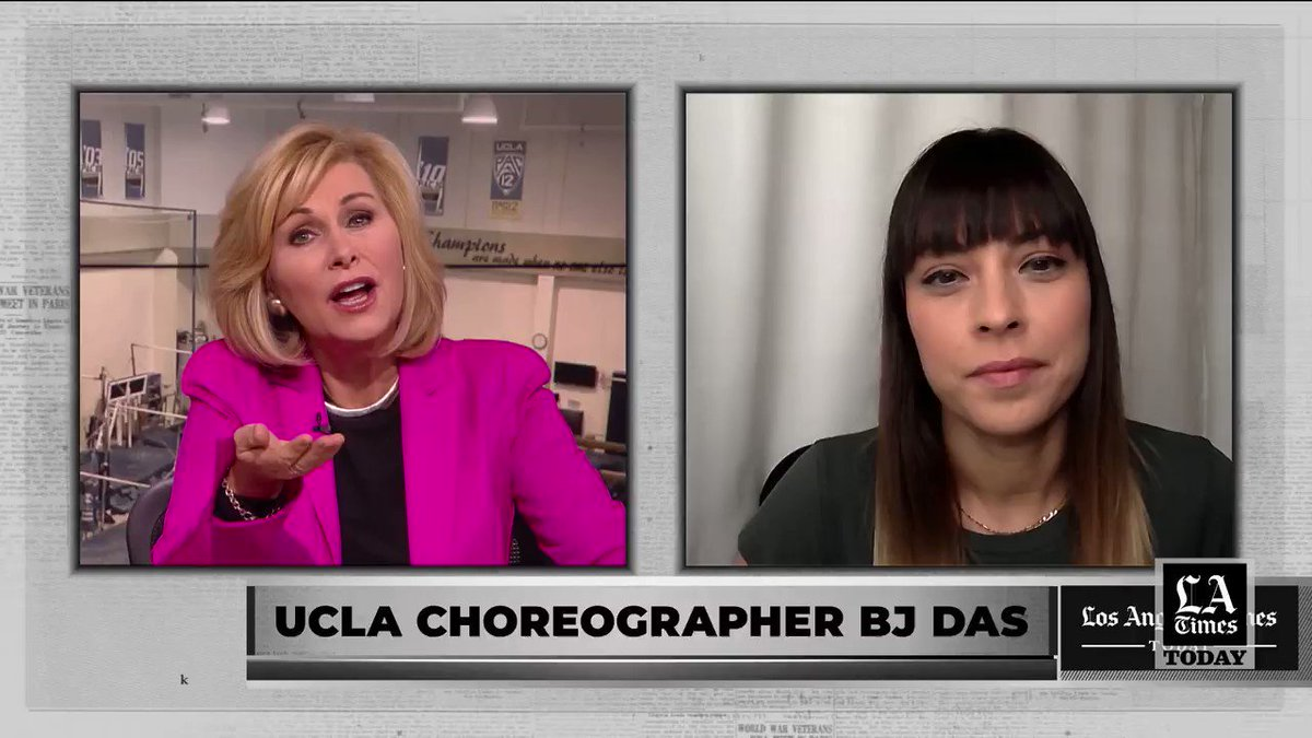 The UCLA women's gymnastics team often goes viral with their vibrant dance routines, and that's in part thanks to choreographer @BeeJayDas. She talks about her dancing tonight on #LATimesToday at 7 and 10 p.m.