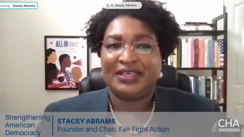 "Listen to @staceyabrams: ""A lie cloaked in the seductive appeal of election integrity has weakened access to democracy for millions by promoting voter suppression. Congress must reject voter suppression and act boldly & quickly to preserve our democracy"