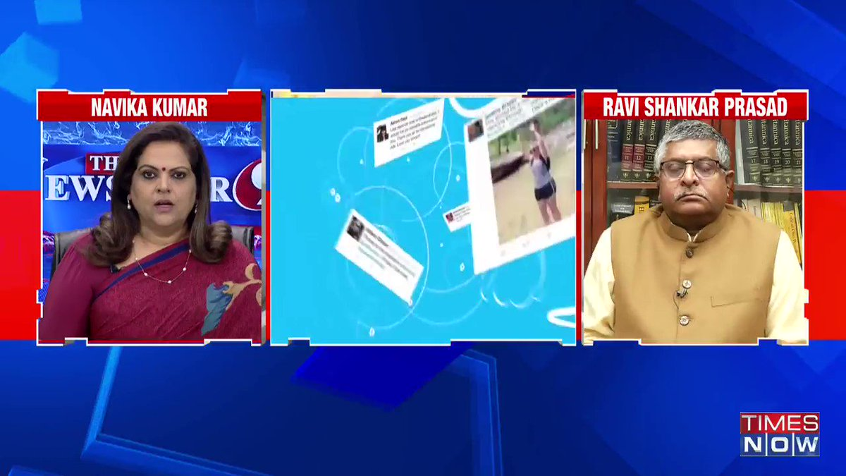 There are people on social media who're happy with the police action against Capitol Hill rioters but side with the people involved in Red Fort vandalism: Ravi Shankar Prasad (@rsprasad), Union Law Minister, tells Navika Kumar on @thenewshour. | #DigitalMediaCode