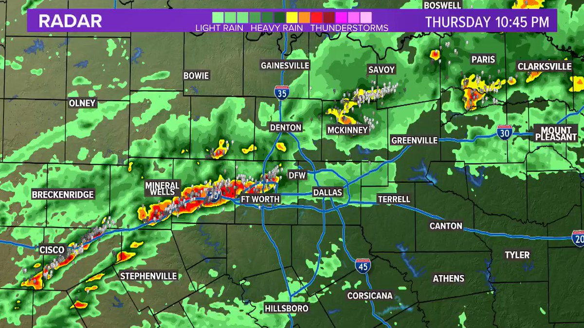 10:45pm - Storms are increasing in coverage and will be more widespread overnight (midnight-5am). Dime to nickel size hail possible with strongest storms, but can't rule out isolated rounds of hail up to the size of quarters. #wfaaweather  Radars: https://t.co/Q4wF1BZOrY