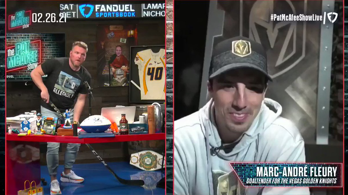 Chatting with @GoldenKnights goalie MAF about the hardest shooters he's ever faced..   Chara, Weber, & Ovechkin #PatMcAfeeShowLIVE