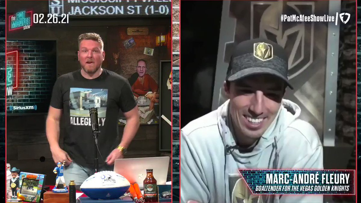 "Flower has been trying to score a goal for YEARS  If he gets one this year I will donate $100,000 to the charity/foundation of his choice @GoldenKnights   ""You'll get me trying every night now"" ~MAF #PatMcAfeeShowLIVE"