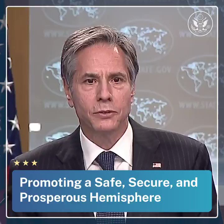 .@SecBlinken: We look forward to continuing conversations with our neighbors and friends in Mexico and Canada to address shared challenges, promote the prosperity of all of our people, and promote a safe, secure, and prosperous hemisphere.