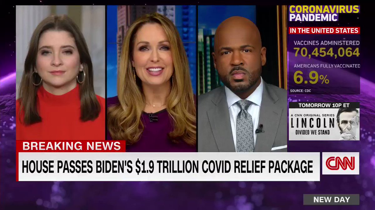 The House passed Biden's $1.9 trillion Covid-19 stimulus package very early this morning.   I explain what this means and what you need to know about this legislation now that it heads to the Senate with @Christi_Paul and @VictorBlackwell this morning on New Day!