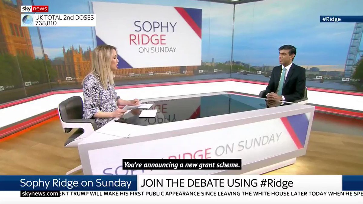 Speaking to @RidgeOnSunday this morning, I set out how our new £5bn Restart Grants will help support businesses in the hospitality, leisure, accommodation & retail sectors as we follow the roadmap out of the pandemic. #PlanForJobs