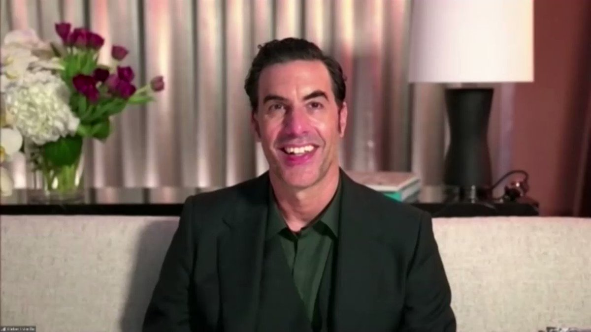 """#GoldenGlobe winner Sacha Baron Cohen says he made """"Borat Subsequent Moviefilm"""" because he felt """"democracy was really in danger."""""""