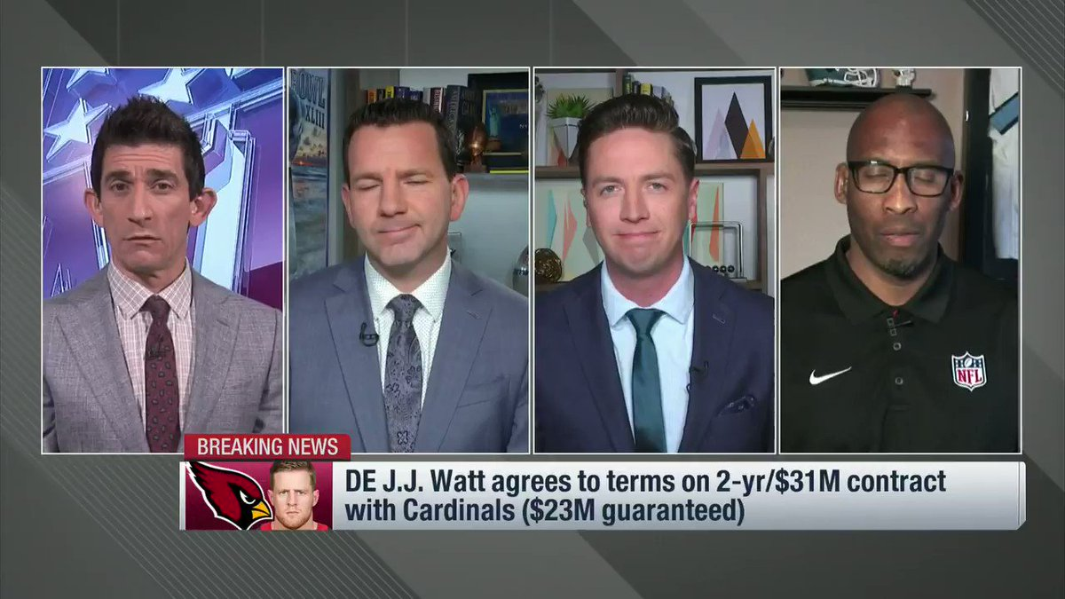 """""""It absolutely is a fit."""" 🙌  @buckybrooks weighs in on the @AZCardinals addition of @JJWatt!"""