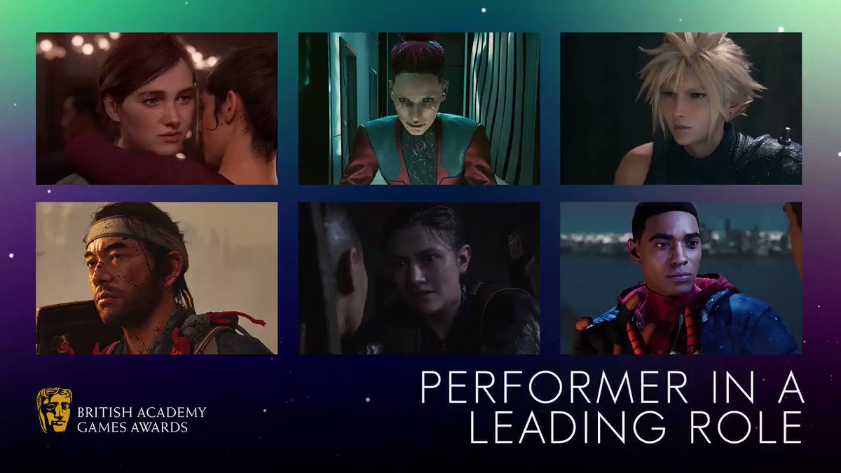 Performer in a Leading Role #BAFTAGames  🎮Ashley Johnson The Last of Us Part II 🎮Cherami Leigh CYBERPUNK 2077 🎮Cody Christian Final Fantasy VII Remake  🎮Daisuke Tsuji Ghost of Tsushima 🎮Laura Bailey The Last of Us Part II 🎮Nadji Jeter Marvel's Spider-Man: Miles Morales