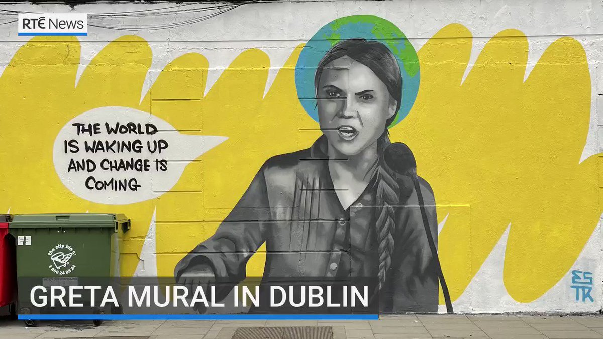 🌍   A large mural of Greta Thunberg has been painted on a wall in Dublin City centre.   Artist Emma Blake said she hoped it refocuses attention on the fight against climate change.   #ArtForOurPlanet #art #climatechange #climatecrisis Via @rtenews