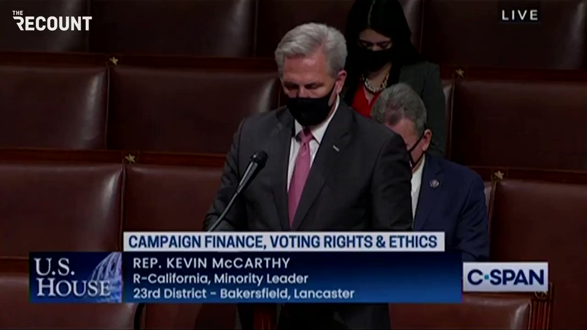 """Rep. Kevin McCarthy (R-CA) debating the voting rights bill:  """"First, they outlaw Dr. Seuss and now they want to tell us what to say."""""""