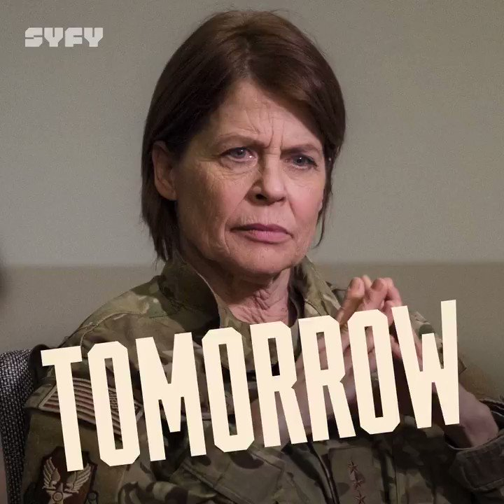 Is that who we think it is?! 🤩   Linda Hamilton guest stars in tomorrow's #ResidentAlien, landing at 10/9c on @SYFY. Get pumped by sending us your favorite GIF of her ⬇️