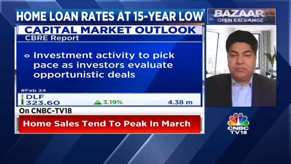 #OnCNBC-TV18 | Kotak & SBI cut home loan rates. Ambuj Chandna of Kotak says home sales tend to peak in March. @AnshumanMagzine, @CBRE_India says more supply of affordable homes is leading to higher sales. @latha_venkatesh @SurabhiUpadhyay @kothariabhishek