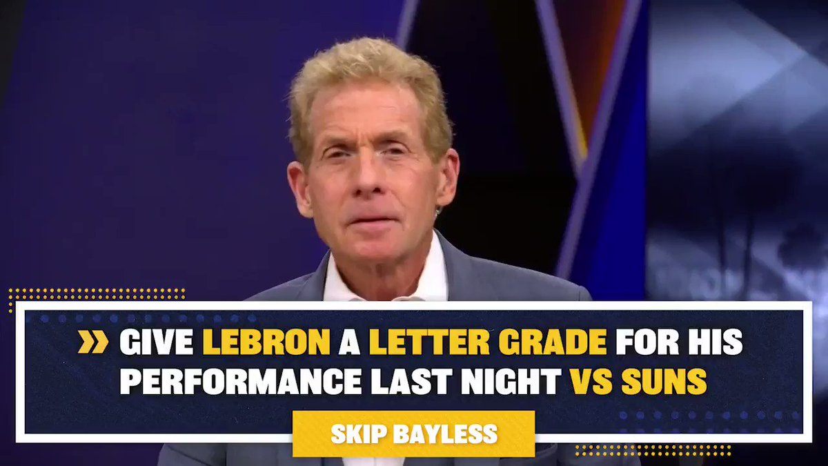 RT @undisputed: .@RealSkipBayless gives LeBron James a 'D' letter grade for 38-5-6 performance in loss to Suns: https://t.co/gAwZIslzZJ