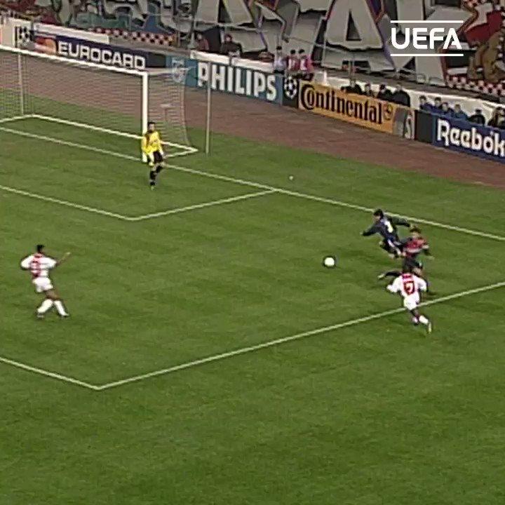 ⚪️🔴⚪️ Patrick Kluivert nets for Ajax #OTD in 1997 ⚽️  @PatrickKluivert | @AFCAjax | #UCL