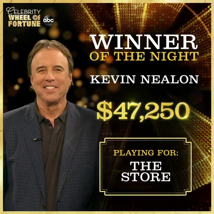 Replying to @ABCNetwork: Congratulations to @kevin_nealon and @TheStoreNash on tonight's big #CelebrityWheelOfFortune win! 🎉