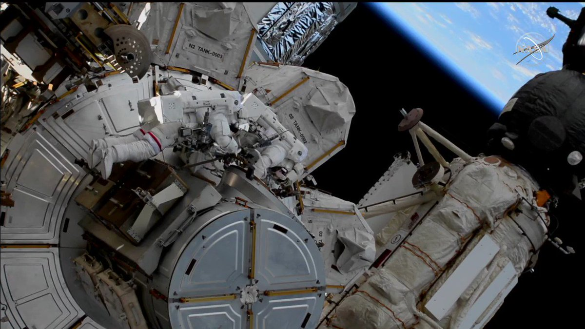 Astronauts Kate Rubins and Soichi Noguchi have exited the Quest airlock 260 miles above the Atlantic Ocean. They will maneuver to the station's far-left side to begin installing solar array modification kits. #AskNASA |
