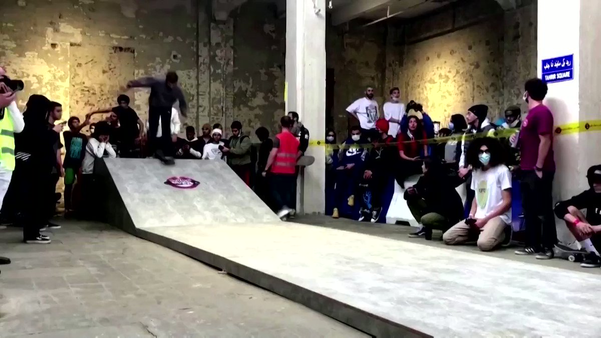These amateur skateboarders show off their skills during a competition at a downtown gallery house in Cairo, Egypt