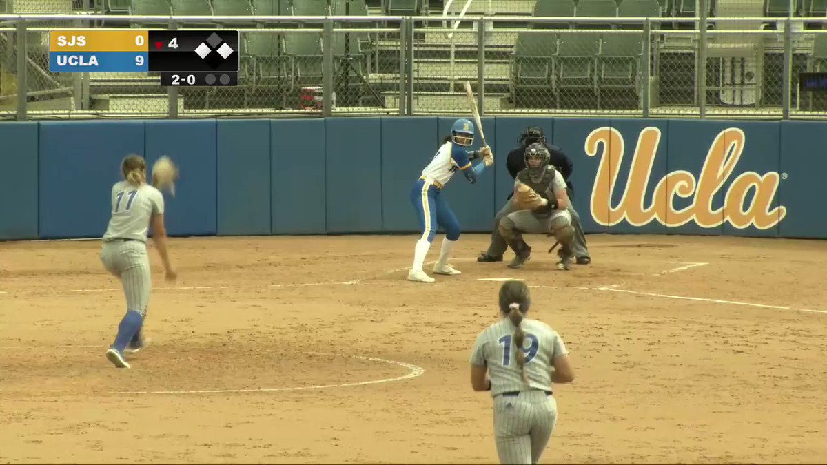SEE-YA!!!!  Brady hits her first long ball of the season with two aboard. Five in the fourth for the Bruins, who lead 12-0.  #GoBruins