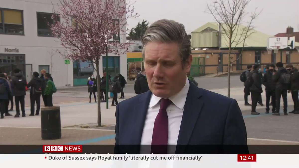 """It's a reminder... that too many people still experience racism in 21st century Britain""  Labour leader Sir Keir Starmer says allegations of racism raised by the Duchess of Sussex ""need to be taken very seriously"""