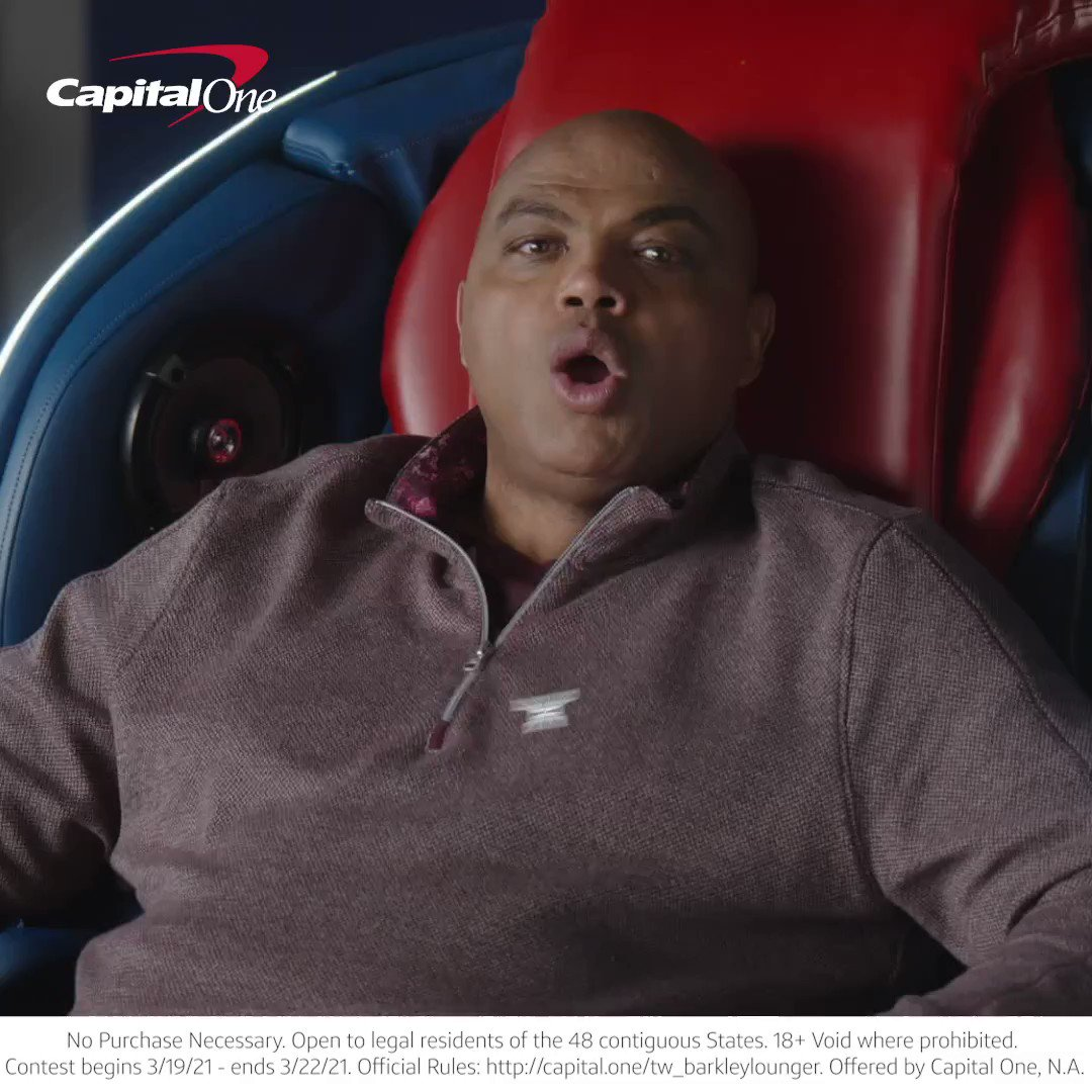 Time to upgrade your #MarchMadness setup! Enter for the chance to win Chuck's chair OR $10K cash by posting a photo of your setup and using #LoungeLikeBarkley + #Contest. @CapitalOne #RewardingMadness #CapitalOnePartner  Rules: https://t.co/8PKEeU4jdZ https://t.co/dIy8uN2BIF