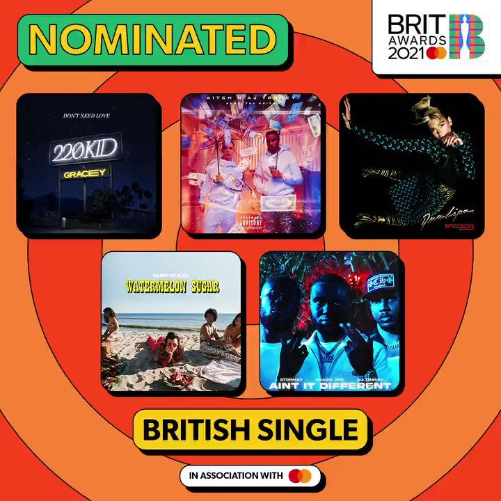 #BRITs 2021 British Single with @MastercardUK nominees: 🎶 @220_kid @GRACEYmusic_ - 'Don't Need Love' 🎶 @OfficialAitch @ajtracey ft. @taykeith - 'Rain' 🎶 @DUALIPA - 'Physical' 🎶 @Harry_Styles - 'Watermelon Sugar' 🎶 @HeadieOne ft. @ajtracey & Stormzy - 'Ain't It Different' 1/2