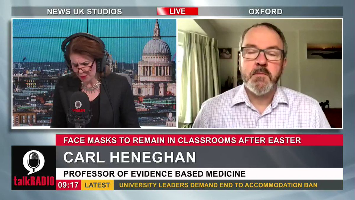 Carl Heneghan, professor of evidence based medicine: Theres a lack of evidence to support wearing face masks. Watch talkRADIO live ► youtu.be/zc-9k1SbJ_Q @JuliaHB1 | @carlheneghan