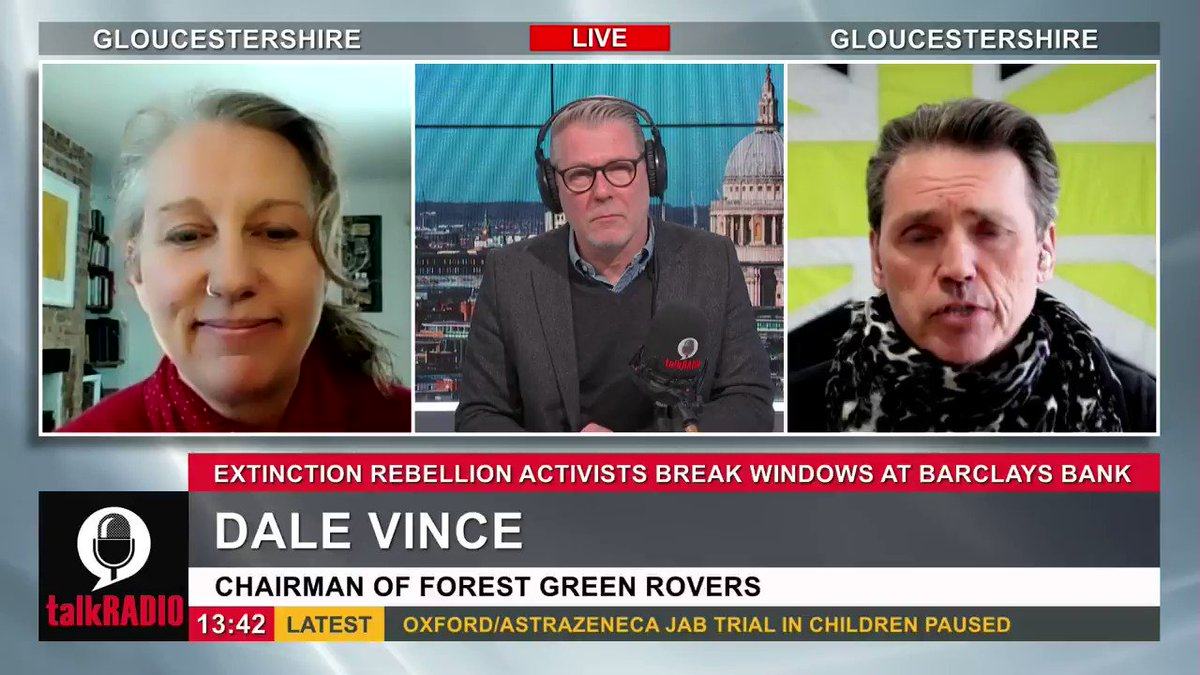 """Extinction Rebellion protesters have broken windows at Barclays in Canary Wharf, who they accuse of investing in fossil fuels. Forest Green Rovers chairman Dale Vince: """"This is the wrong way to talk to people you disagree with."""" @iancollinsuk 