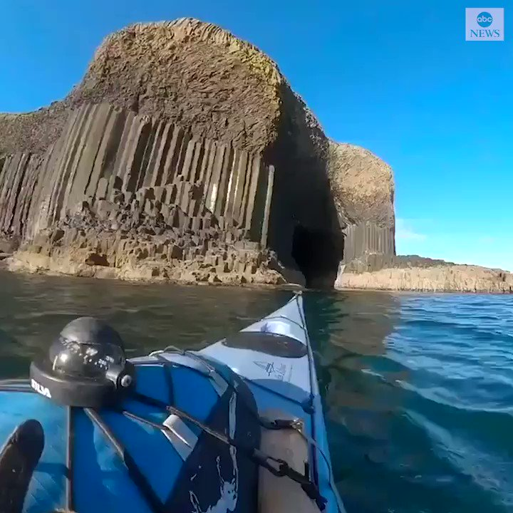 Take a moment to enjoy the scenes captured by a kayaker from inside Fingal's Cave on the Isle of Staff off the coast of Scotland. https://t.co/3DNtZQXhDf https://t.co/bo0au0lSbk