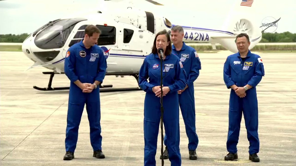 """""""We got to fly by the pad and see our rocket getting ready to go, and that's just an amazing feeling... and really, there's nothing like it."""" — @Astro_Megan, pilot, NASA's SpaceX Crew-2 mission https://t.co/D9gX0Ewzeg"""