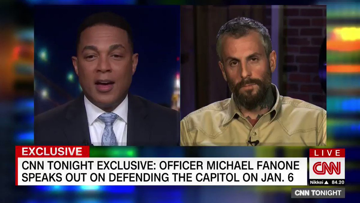 Officer Michael Fanone tells @donlemonit's been very difficult to see elected officials whitewash what happened on Jan. 6.   He was stun-gunned several times and beaten with a flagpole during the Capitol attack.    Watch part 1 of his first in-depth interview: https://t.co/4LzuJcfztl