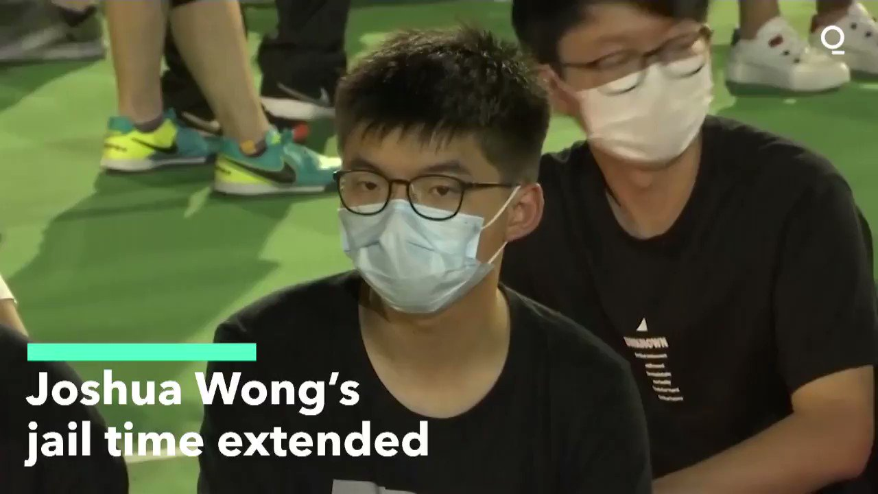 """@Quicktake: """"It's a peaceful assembly that's been ongoing for 31 years.""""A Hong Kong court added 10 months to pro-democracy activist Joshua Wong's jail term for taking part in a #June4 Tiananmen vigil. Activist @zouxingtong tells @ChloecLoNews more  #NSL #香港"""