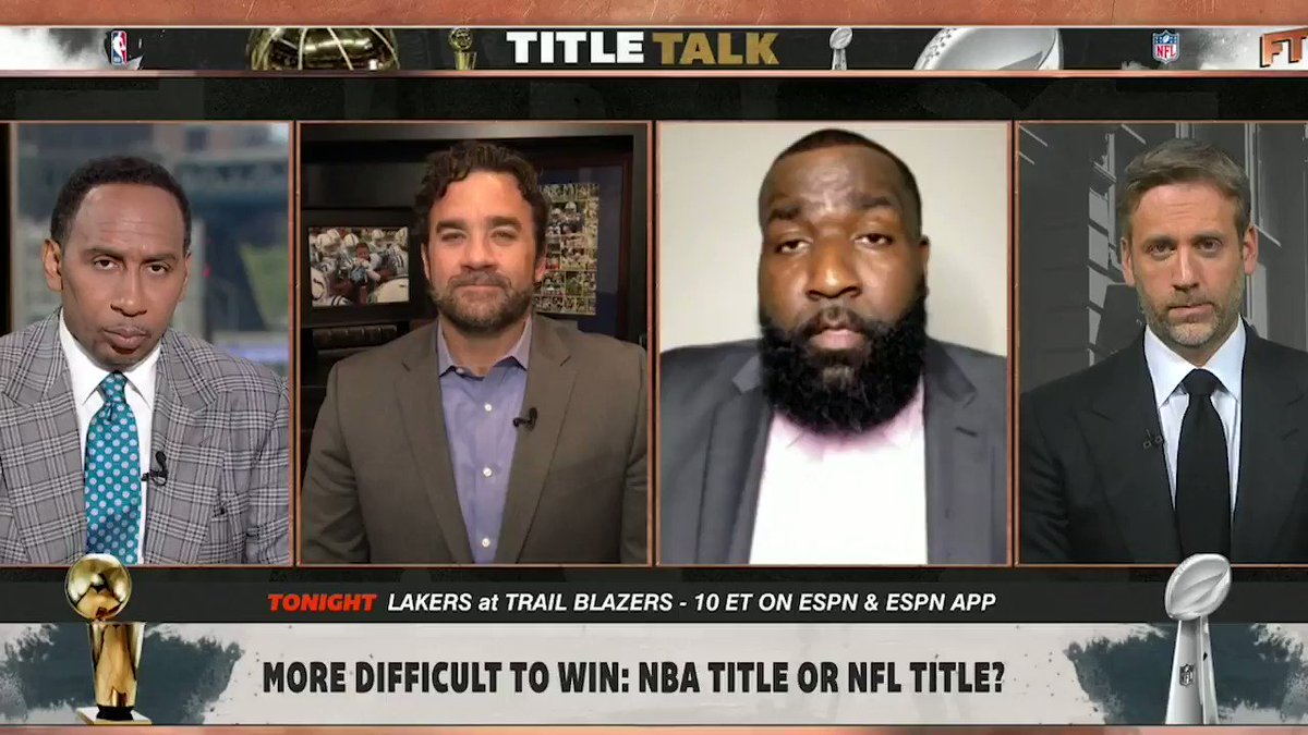.@KendrickPerkins is doubling-down. He says an NBA Championship is harder to win than a Super Bowl 🤔