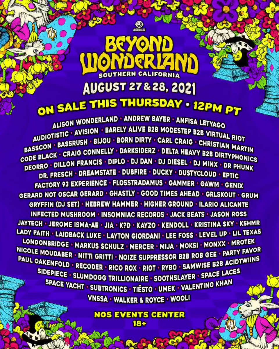 All sights set on Wonderland August 27+28, 2021!🦋✨ ON SALE THURS at 12pm PT for $9.99 down→ https://t.co/V6mRtSOybC   Travel Beyond and unlock the adventure of a lifetime at NOS Events Center.🍄🗝 #BeyondWonderland https://t.co/xIpLmODJY6